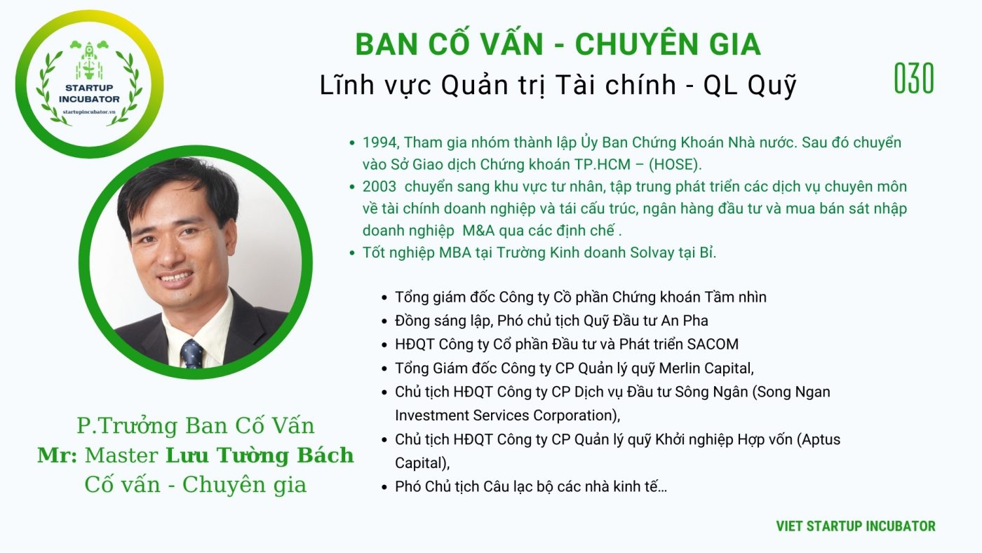 Chuyên gia, Cố vấn Lưu Tường Bách - Cố vấn Khởi nghiệp Việt Nam