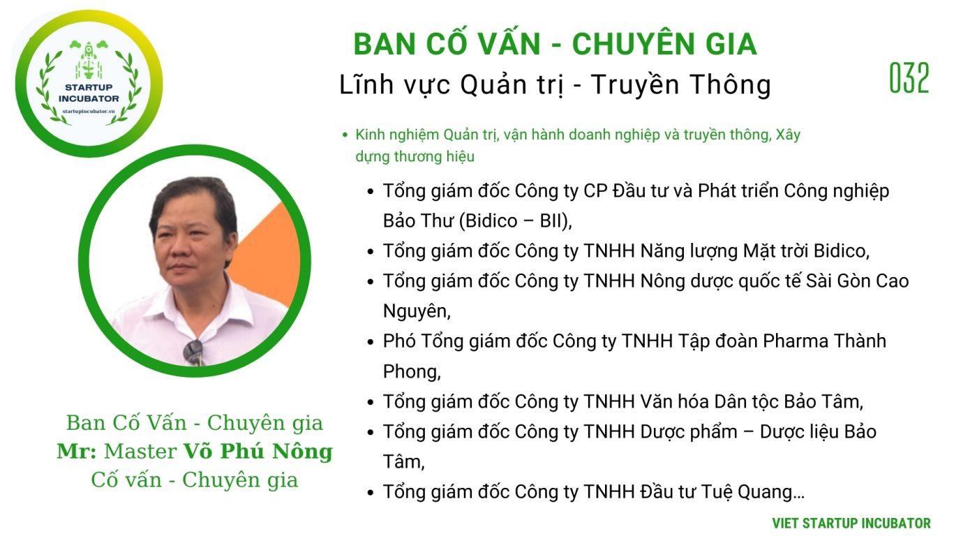 Chuyên gia, Cố vấn Võ Phú Nông - Cố vấn Khởi nghiệp Việt Nam