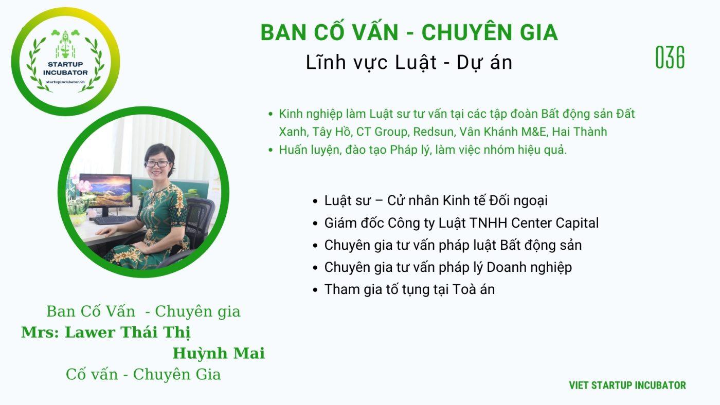 Chuyên gia, Cố vấn Thái Thị Huỳnh Mai - Cố vấn Khởi nghiệp Việt Nam