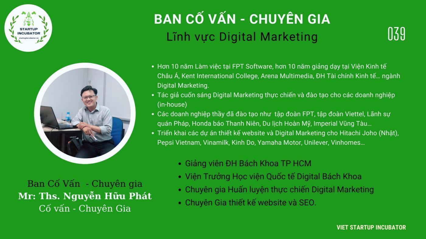 Chuyên gia, Cố vấn Nguyễn Hữu Phát- Cố vấn Khởi nghiệp Việt Nam