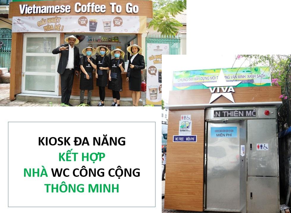 kiosk đa năng kết hợp nhà wc tự động thông minh