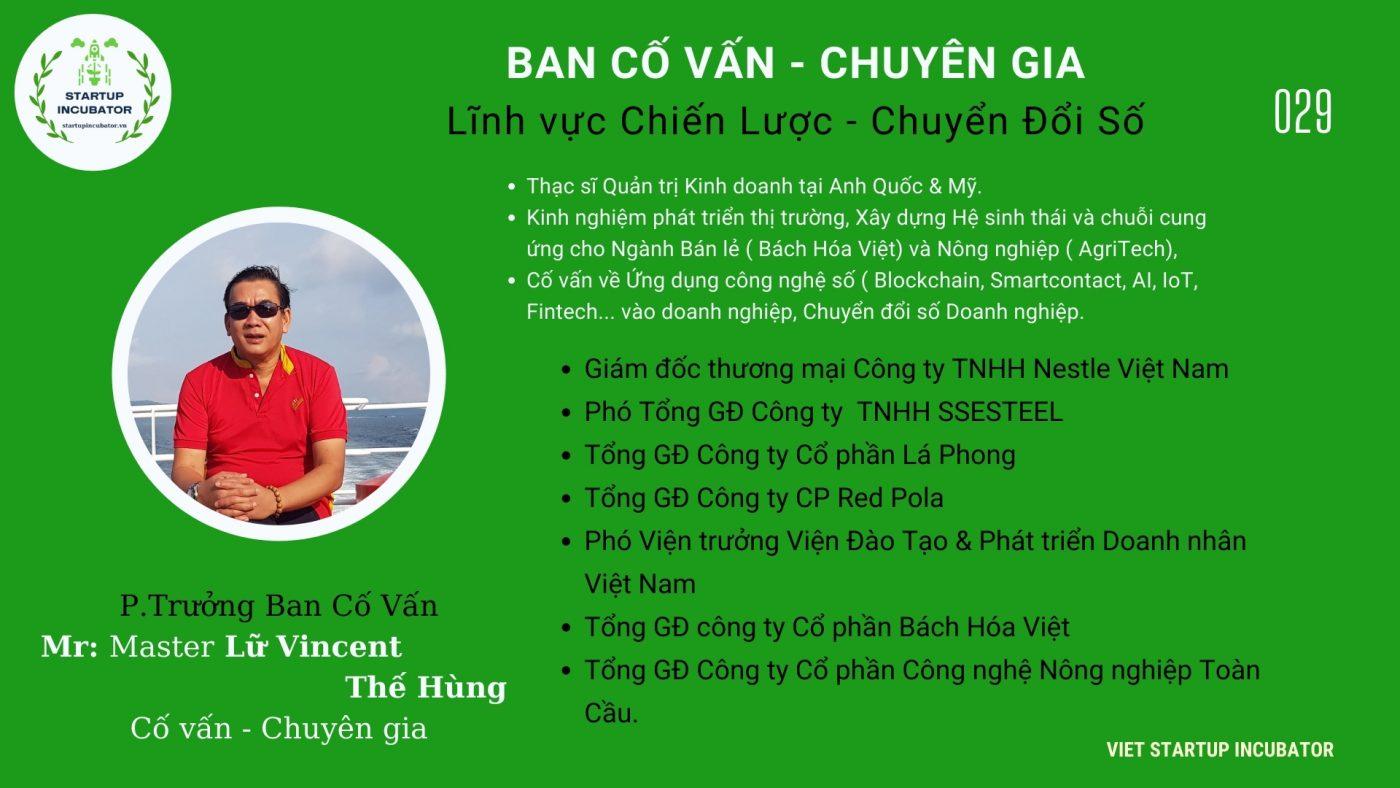 Chuyên gia, Cố vấn Lữ Vincent Thế Hùng - Cố vấn Khởi nghiệp Việt Nam