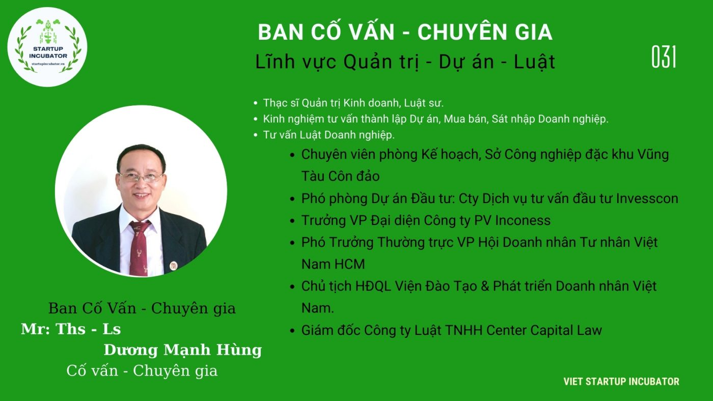 Chuyên gia, Cố vấn Dương Mạnh Hùng - Cố vấn Khởi nghiệp Việt Nam