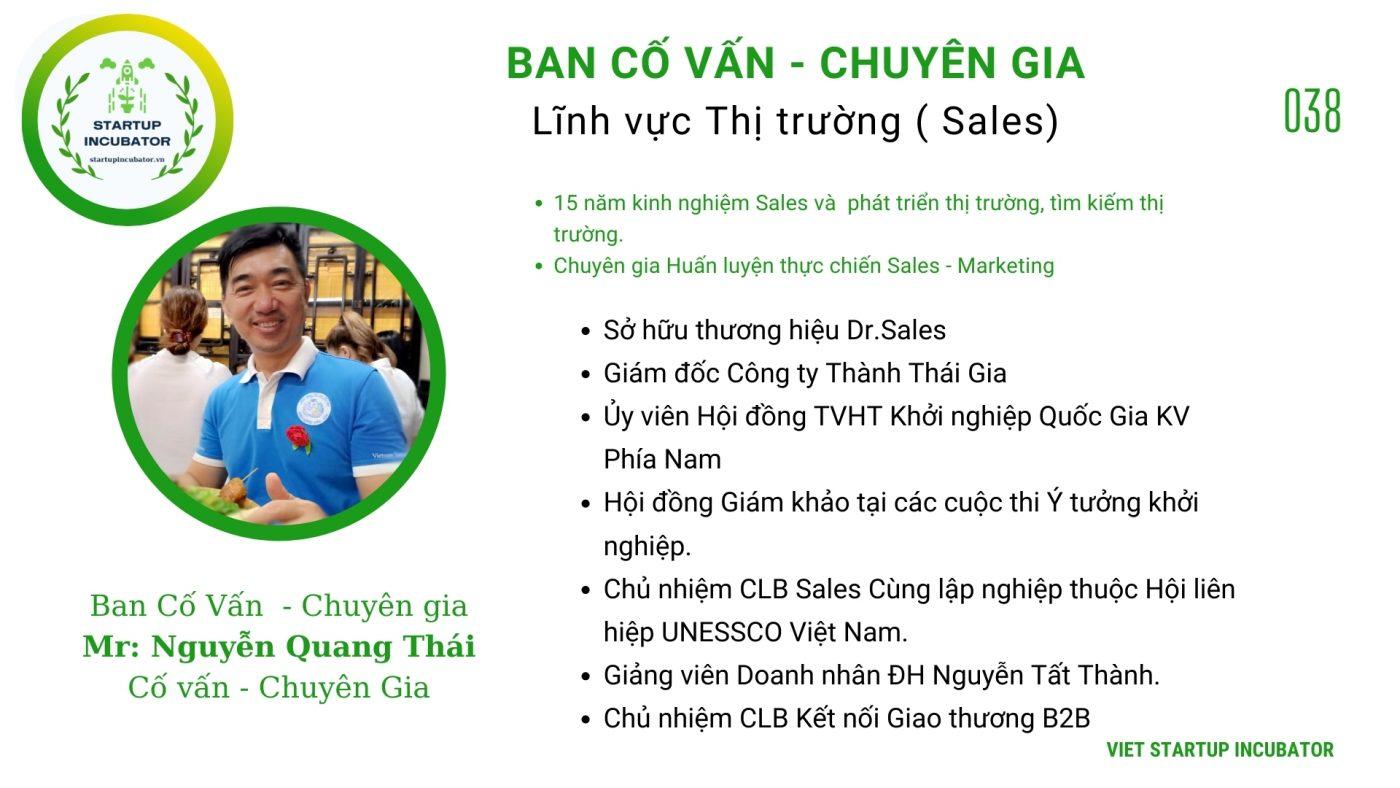 Chuyên gia, Cố vấn Nguyễn Quang Thái- Cố vấn Khởi nghiệp Việt Nam