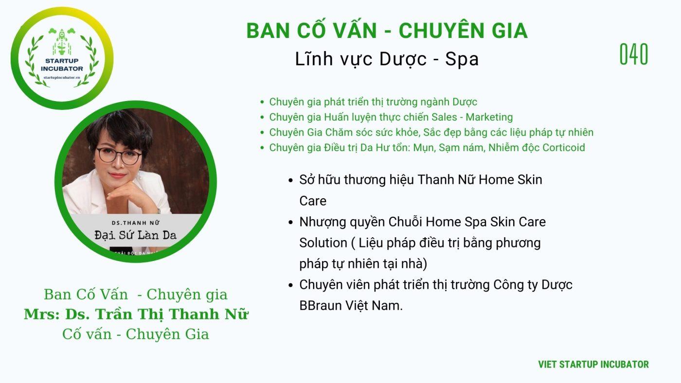 Chuyên gia, Cố vấn Trần Thị Thanh Nữ- Cố vấn Khởi nghiệp Việt Nam