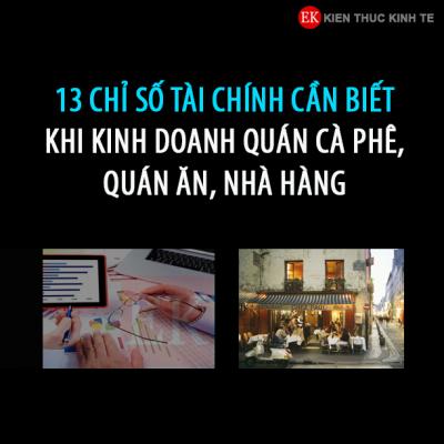 13 chỉ số tài chính cần biết khi kinh doanh Cafe, Nhà hàng, quán ăn - Covankhoinghiep.vn